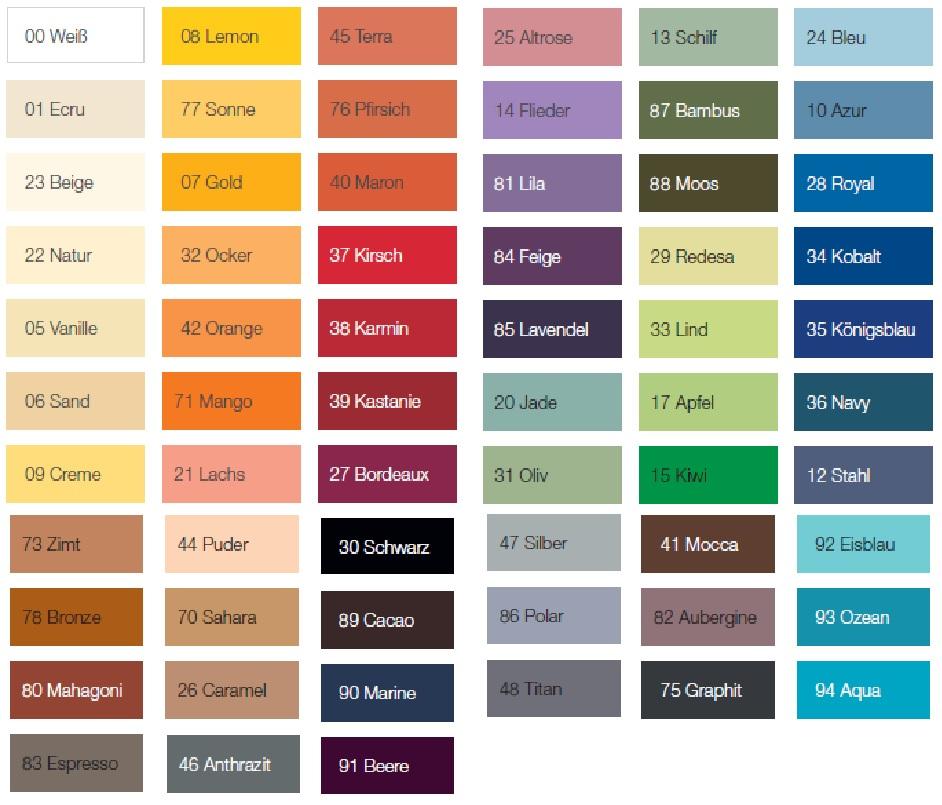 Nuancier des couleurs des draps-housse élasthane- jersey
